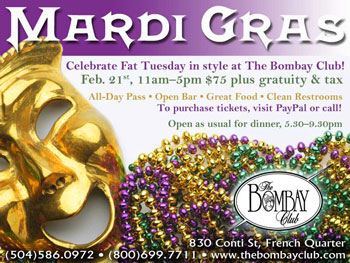 Mardi Gras at the Bombay Club in the French Quarter